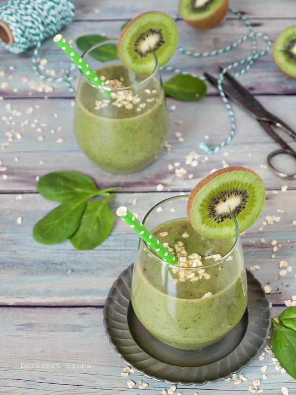 Kivi-banán-spenót smoothie